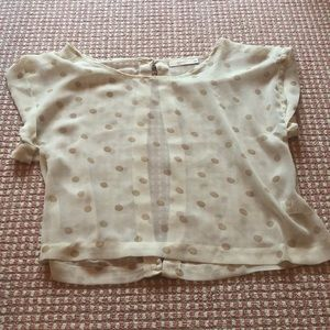 sheer polka dot blouse with open back